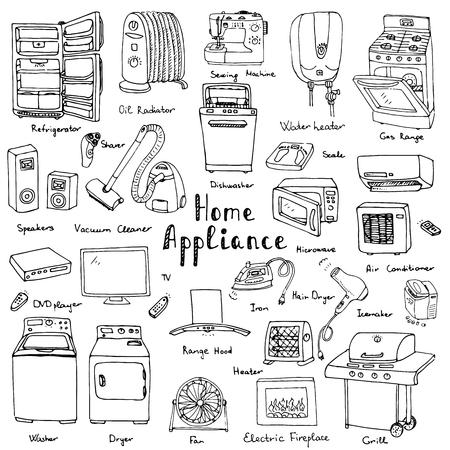 Ręcznie rysowane doodle sprzętu domowego ilustracji wektorowych Cartoon ikony zestaw Vaus sprzęt gospodarstwa domowego i urządzeń Poważne i drobny sprzęt elektroniki użytkowej kuchenne odręcznych szkiców wektorowej