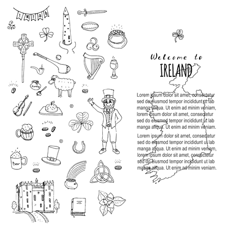 hand knot: Hand drawn doodle Ireland set Vector illustration Sketchy Irish traditional food icons Republic of Ireland elements Flag Map Celtic Cross Knot Castle Leprechaun Shamrock Harp Pot of gold Travel icons Illustration