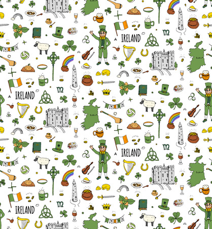 patricks: Seamless background hand drawn doodle Ireland set Vector Travel illustration Sketchy Irish traditional food icons Republic of Ireland elements Flag Map Celtic Cross Knot Castle Leprechaun Shamrock
