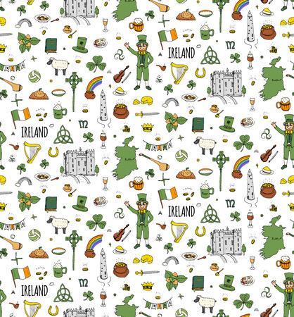 Seamless dessiné à la main doodle Irlande a illustration vectorielle Voyage Sketchy irlandais icônes République d'Irlande éléments Drapeau Carte Celtic Cross Knot Castle Leprechaun Shamrock traditionnels alimentaires