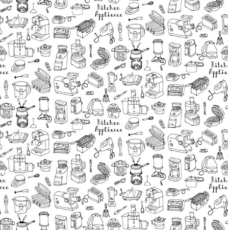 Seamless background hand drawn doodle Kitchen appliance vector illustration Cartoon icons set Household equipment Small kitchen appliances Consumer electronics Kitchenware Freehand vector sketch