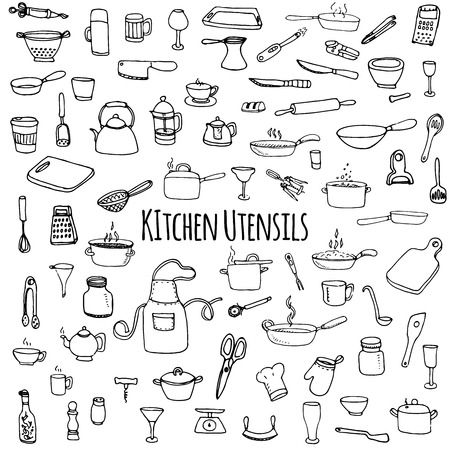 kitchen illustration: Hand drawn doodle Kitchen utensils set Vector illustration Sketchy kitchen ware icons collection Isolated appliance kitchen tools symbols Cutlery icons Cooking equipment Tea pot Pan Knife Chef hat Cup Illustration