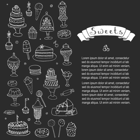 eating pastry: Hand drawn doodle Sweets set Vector illustration Sketchy Sweet food icons collection Isolated desert symbols on white background Cupcake Macaron Chocolate bar Candy Cake Pie Pastry Lollipop Pastry