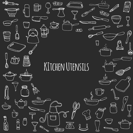 can opener: Hand drawn doodle Kitchen utensils set Vector illustration Sketchy kitchen ware icons collection Isolated appliance kitchen tools symbols Cutlery icons Cooking equipment Tea pot Pan Knife Chef hat Cup Illustration