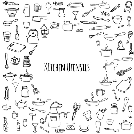 cooking utensils: Hand drawn doodle Kitchen utensils set Vector illustration Sketchy kitchen ware icons collection Isolated appliance kitchen tools symbols Cutlery icons Cooking equipment Tea pot Pan Knife Chef hat Cup Illustration