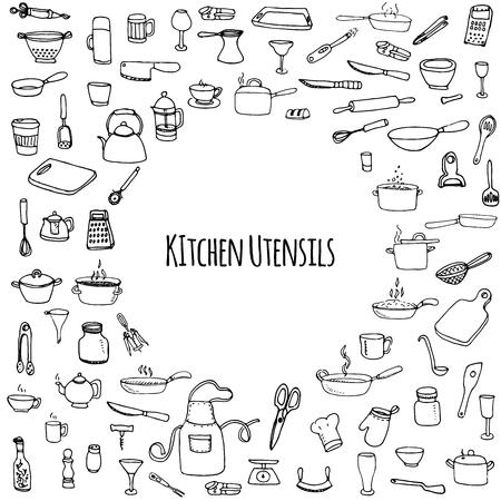 Ręcznie rysowane doodle Naczynia kuchenne zestaw Vector ikony narzędzia kuchenne Naczynia Sketchy ikony kolekcji samodzielnie urządzenie kuchenne Sztućce symbole garnka Sprzęt herbaciany Pan Nóż Chef hat Cup