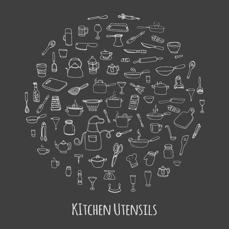 kitchen utensil: Hand drawn doodle Kitchen utensils set Vector illustration Sketchy kitchen ware icons collection Isolated appliance kitchen tools symbols Cutlery icons Cooking equipment Tea pot Pan Knife Chef hat Cup Illustration