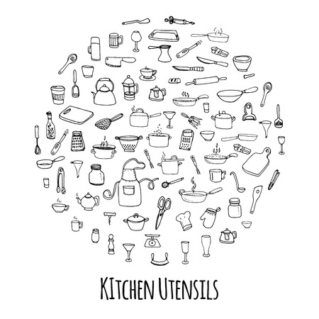 pepper mill: Hand drawn doodle Kitchen utensils set Vector illustration Sketchy kitchen ware icons collection Isolated appliance kitchen tools symbols Cutlery icons Cooking equipment Tea pot Pan Knife Chef hat Cup Illustration