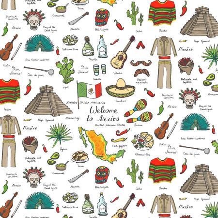 bandera de mexico: dibujado a mano de fondo sin fisuras doodle de M�xico establece ilustraci�n vectorial Sketchy iconos de comida mexicana Estados Unidos Mexicanos elementos de la bandera de Maracas Sombrero Bienvenido a M�xico Pir�mide Maya Azteca Tequila Agave