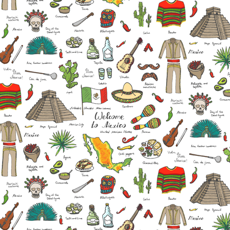 Seamless background hand drawn doodle Mexico set Vector illustration Sketchy mexican food icons United Mexican States elements Flag Maracas Sombrero Welcome to Mexico Maya Pyramid Aztec Tequila Agave
