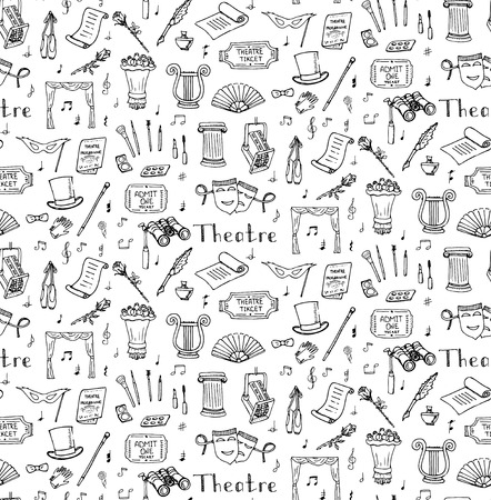 theatre masks: Seamless background hand drawn doodle Theatre set Vector illustration Sketchy theater icons Acting performance elements Ticket Masks Lyra Flowers Curtain stage Musical notes Pointe shoes Make-up tools Illustration