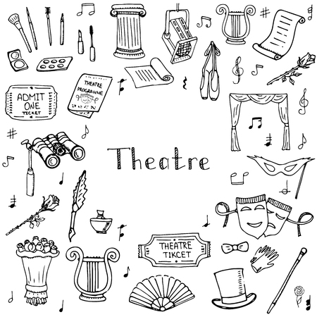 theatre masks: Hand drawn doodle Theatre set Vector illustration Sketchy theater icons  Theatre acting performance elements Ticket Masks Lyra Flowers Curtain stage Musical notes Pointe shoes Make-up artist tools Illustration