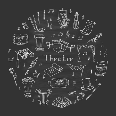 musical theater: Hand drawn doodle Theatre set Vector illustration Sketchy theater icons  Theatre acting performance elements Ticket Masks Lyra Flowers Curtain stage Musical notes Pointe shoes Make-up artist tools Illustration