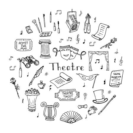 Hand gezeichnet Doodle Theaters Vektor-Illustration Sketchy Theater Ikonen Theateraufführung wirkende Elemente Ticket Masken Lyra Blumen Vorhang Bühne Musiknoten Pointe Schuhe, Make-up-Künstler-Tools