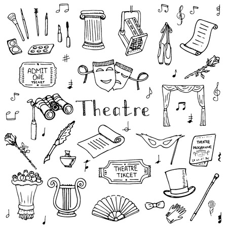 theater curtain: Hand drawn doodle Theatre set Vector illustration Sketchy theater icons  Theatre acting performance elements Ticket Masks Lyra Flowers Curtain stage Musical notes Pointe shoes Make-up artist tools Illustration