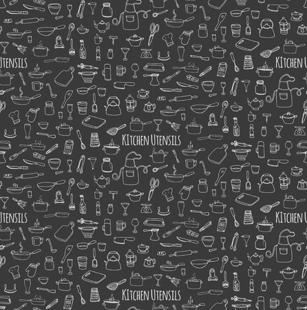 kitchen ware: Seamless background hand drawn doodle Kitchen utensils set Vector illustration Sketchy kitchen ware icons collection Isolated appliance kitchen tools symbols Cooking equipment Tea pot Pan Knife Cup