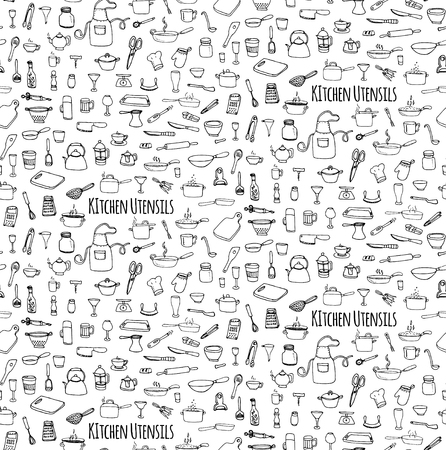 can opener: Seamless background hand drawn doodle Kitchen utensils set Vector illustration Sketchy kitchen ware icons collection Isolated appliance kitchen tools symbols Cooking equipment Tea pot Pan Knife Cup