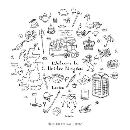 britannia: Hand drawn doodle United Kingdom set Vector illustration UK icons  Welcome to London elements British symbols collection Tea Bus Horse riding Golf Crown Beer Lion Bulldog Flag Britannia Pound sterling