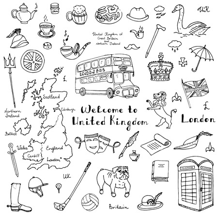 pound sterling: dibujado a mano doodle del Reino Unido establece la ilustración del vector del Reino Unido iconos Bienvenido a elementos Londres símbolos de colección británica del té del autobús del caballo de equitación Bulldog León Golf Corona Cerveza Bandera de Britannia Libra esterlina