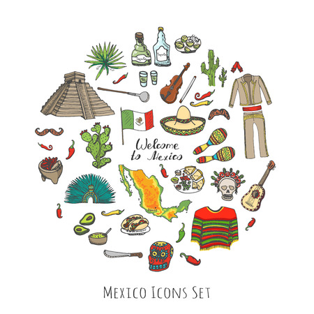 poncho: Hand drawn doodle Mexico set Vector illustration Sketchy mexican food icons United Mexican States elements Flag Maracas Sombrero Viva Mexico Maya Pyramid Aztec Tequila Agave Mariachi Poncho Guacamole