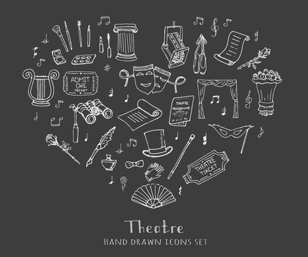Hand drawn doodle Theatre set Vector illustration Sketchy theater icons Theatre acting performance elements Ticket Masks Lyra Flowers Curtain stage Musical notes Pointe shoes Make-up artist tools