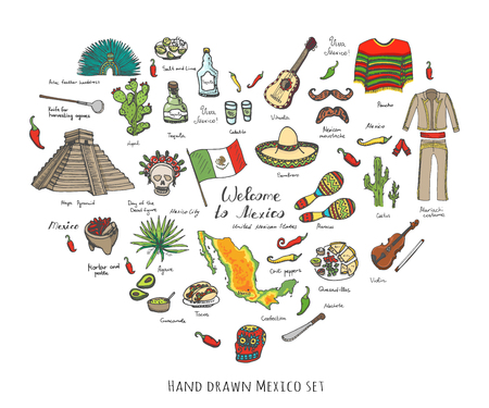 poncho: Hand drawn doodle Mexico set Vector illustration Sketchy mexican food icons United Mexican States elements Flag Maracas Sombrero Welcome to Mexico Maya Pyramid Aztec Tequila Agave Poncho Guacamole