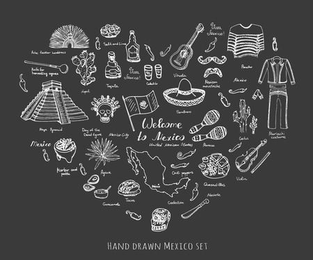 Hand drawn doodle Mexico set Vector illustration Sketchy mexican food icons United Mexican States elements Flag Maracas Sombrero Welcome to Mexico Maya Pyramid Aztec Tequila Agave Poncho Guacamole