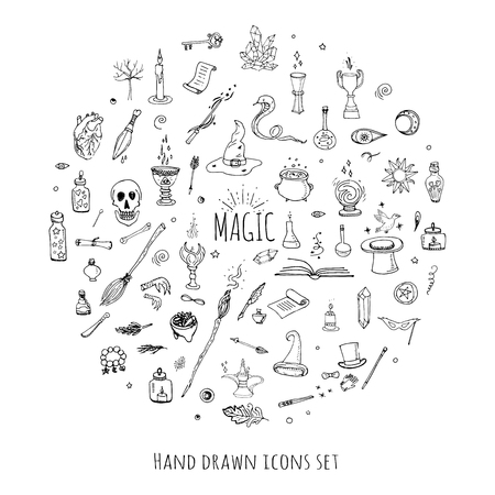 witchcraft: Hand drawn doodle Magic set Vector illustration wizardy, witchcraft symbols Isolated icons collections Cartoon sorcery concept elements Magic wand Love potion Fairy book Fairy tale Snake Crystal ball Illustration