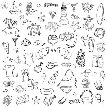 A mano doodle disegnati set estate icone Vector illustration elementi di vacanza Sketchy estivi raccolta isolato vacanze oggetti del fumetto della spiaggia di estate simboli di percorrenza Summertime sfondo viaggiare