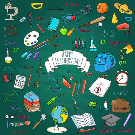 Happy Teachers Day freehand drawing school items Back to School Hand drawing set of school supplies Sketchy doodles vector illustration Doodles, science, physics, calculus, oral exam, history, biology Stock Vector - 55560253