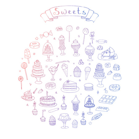 Hand drawn doodle Sweets set Vector illustration Sketchy Sweet food icons collection Isolated desert symbols on white background Cupcake Macarons Chocolate bar Candy Cake Pie Pastry Lollipop Pastry