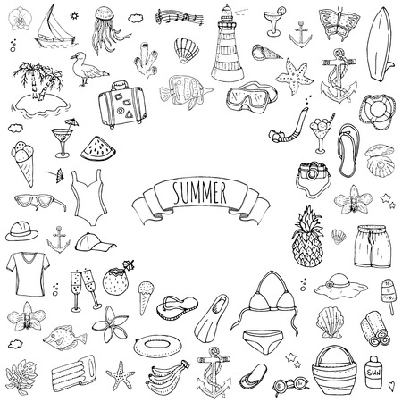 Hand drawn doodle summer set icons Vector illustration Sketchy summer holiday elements collection Isolated vacation objects Cartoon summer beach journey symbols Summertime traveling background