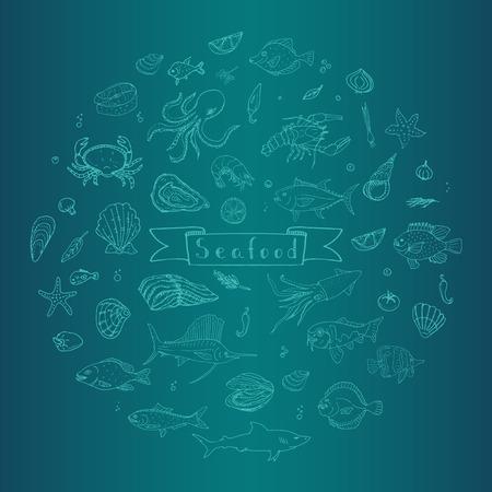 shellfish: Hand drawn doodle Seafood icons set Vector illustration seafood symbols collection Cartoon fish Crab Seafood platter Lobster Oyster Shrimp Shellfish Shrimp on white background for your menu or design