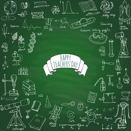해피 교사의 날 자유형 그리기 학교 항목 과학 테마 핸드 드로잉 학 용품 세트 스케치 낙서 벡터 일러스트 레이 션 과학, 물리학, 미적분, 화학, 생물학,
