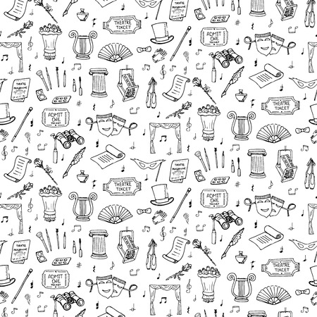theatre masks: Seamless background theater hand drawn doodle Theatre set Vector illustration Sketchy theater icons Acting performance elements Ticket Masks Lyra Curtain stage Musical notes Pointe shoes Make-up tools Illustration