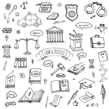 Hand drawn doodle Law and Justice icons set Vector illustration law sketchy symbols collection Cartoon law concept elements suitable for info graphics, websites and print media. Black and white icons