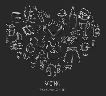 stance: Hand drawn doodle boxing icons set Vector illustration Sketchy sport related icons boxing elements, boxing uniform, gloves, shoes, helmet, boxing ring, belt, trophy Carton boxing equipment