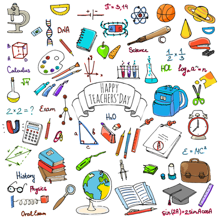 calculus: Freehand drawing school items, Back to School. Hand drawing set of school supplies sketchy doodles vector illustration, doodles, science, physics, calculus, oral exam, history, biology