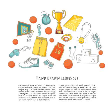 baloncesto: Conjunto de la mano del doodle de baloncesto. Ilustraci�n del vector. Incompletos de iconos relacionados con el deporte, elementos de baloncesto, pelota, aro, red, cesta, tablero trasero, el n�mero, el desgaste del deporte, zapatos de deporte, copa ganador Vectores