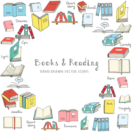 magazine stack: Hand drawn doodle Books and Reading set Vector illustration Sketchy book icons reading books elements Set of books Vector symbols of reading and learning Book club illustration, Education logo element