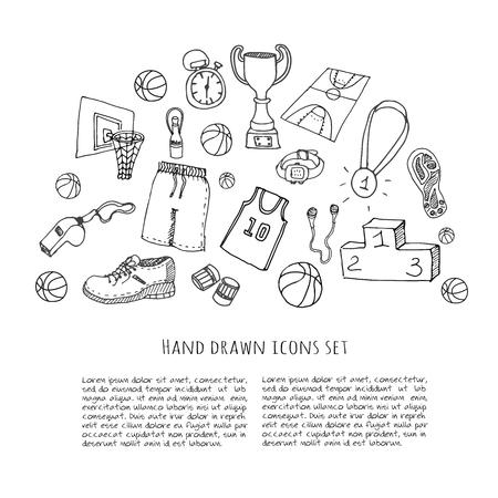 baloncesto: Conjunto de la mano del doodle de baloncesto. Ilustración del vector. Incompletos de iconos relacionados con el deporte, elementos de baloncesto, pelota, aro, red, cesta, tablero trasero, el número, el desgaste del deporte, zapatos de deporte, copa ganador Vectores