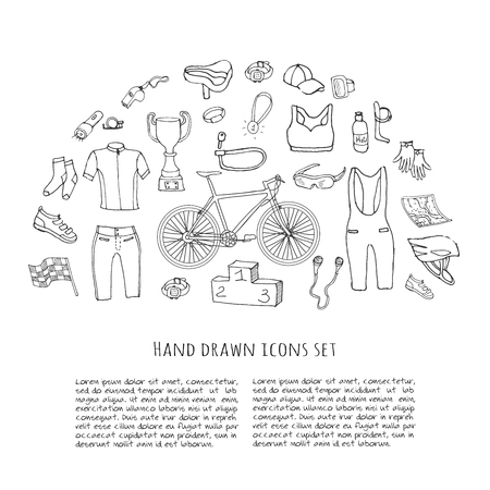 biking glove: Bicycle equipment hand drawn set, doodle vector illustration of various stylized bicycle icons, bicycling equipment and accessories icons sketch collection, bicycling gear, cycling cloth and shoes Illustration
