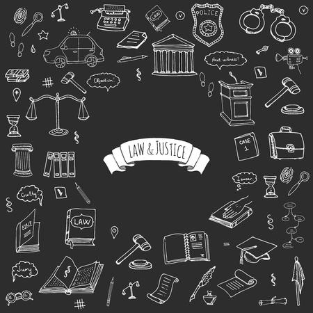 Hand getrokken doodle wet en rechtvaardigheid iconen set Vector illustratie wet schetsmatig symbolen collectie Cartoon wet concept elementen geschikt voor info graphics, websites en gedrukte media. Zwart-wit pictogrammen