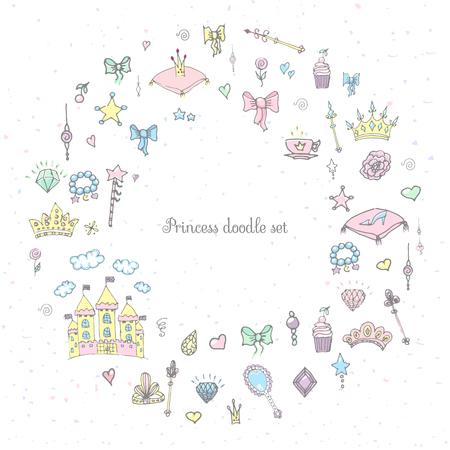 girl magic wand: Hand-Drawn Vintage Princess Girl Set, Doodle Design Elements, Sketchy Fairy Tale Princess Tiara Crown Notebook, Vector Illustration, for design and scrapbook, castle, diamond, fairy mirror, magic wand