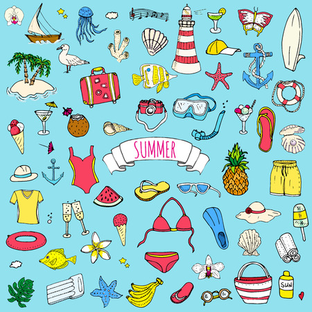 summer holiday: Hand drawn doodle summer set icons Vector illustration Sketchy summer holiday elements collection Isolated vacation objects Cartoon summer beach journey symbols Summertime traveling background Illustration