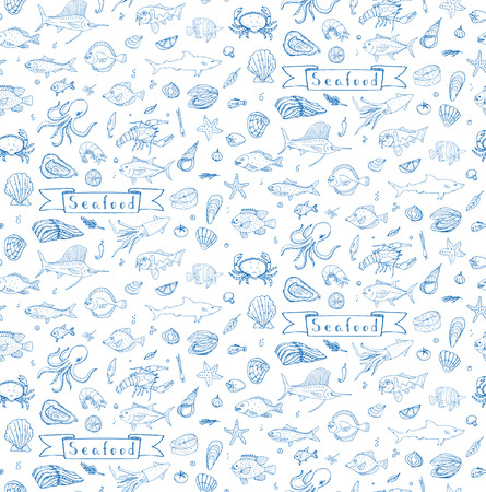 Seamless background hand drawn doodle Seafood icons set Vector illustration seafood symbols collection Cartoon fish Crab Lobster Oyster Shrimp Shellfish Shrimp White background for your menu or design Vettoriali