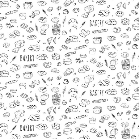 Seamless background hand drawn doodle Bakery set Cartoon bakery icon collection Rye bead Ciabatta Whole grain bread Bagel Sliced bead French baguette Croissant Vector illustration Sketchy bread Bakery 免版税图像 - 55561040