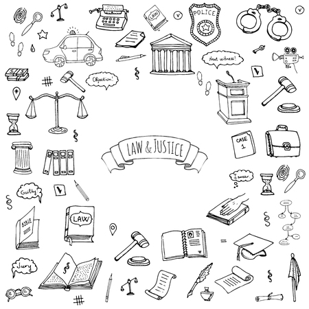 Hand Drawn Doodle Law And Justice Icons Set Vector Illustration