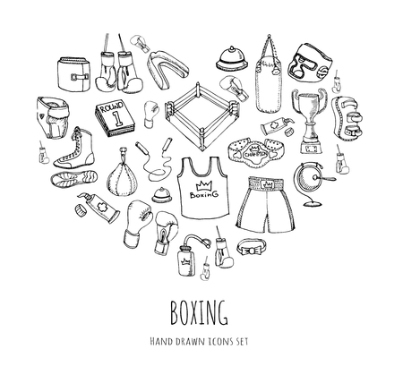 Hand drawn doodle boxing icons set Vector illustration Sketchy sport related icons boxing elements, boxing uniform, gloves, shoes, helmet, boxing ring, belt, trophy Carton boxing equipment Stock Vector - 55561047