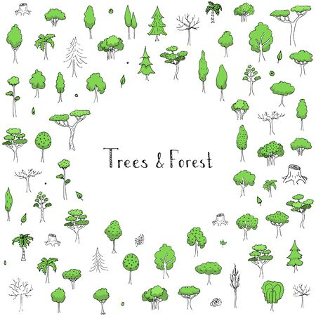 Hand drawn doodle stylized vector tree collection Vector tree silhouette isolated on white background Tree different size and forms Tree icons set Tree eco nature Green collection of tree Leaves Tree Ilustração